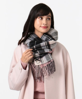 TOCCA WOOL REVERSIBLE CHECK STOLE ストール ブラック系