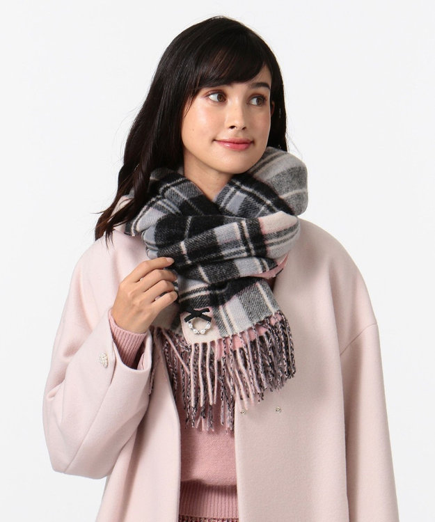 TOCCA WOOL REVERSIBLE CHECK STOLE ストール