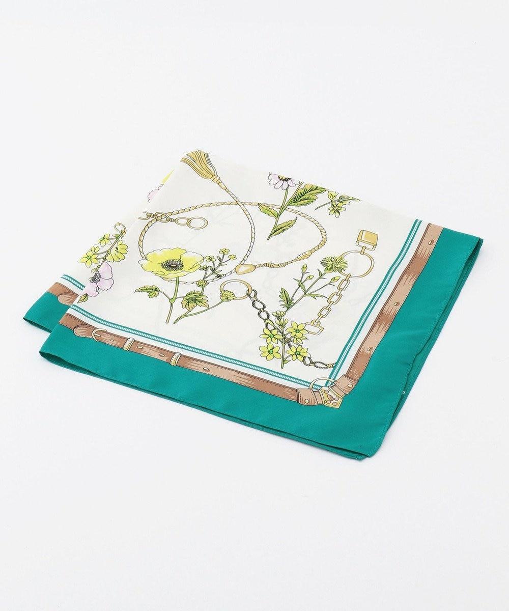 any SiS 【美人百花4月号掲載】ベルトフラワー スカーフ グリーン系