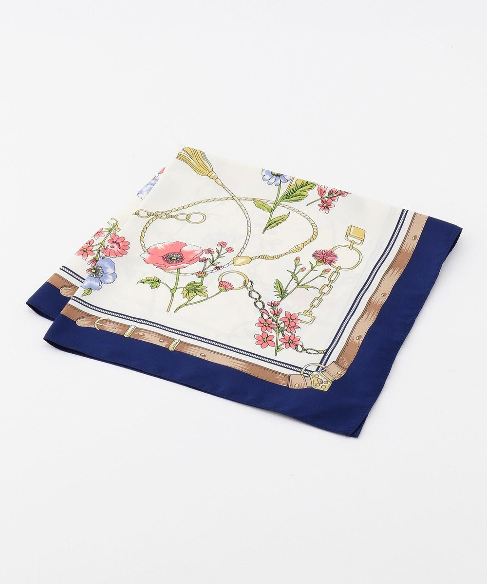 any SiS 【美人百花4月号掲載】ベルトフラワー スカーフ ネイビー系