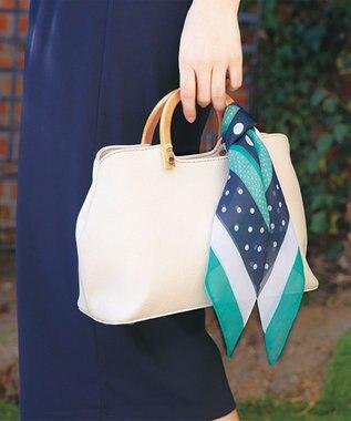 any SiS ランダムドットシフォン スカーフ ネイビー×グリーン