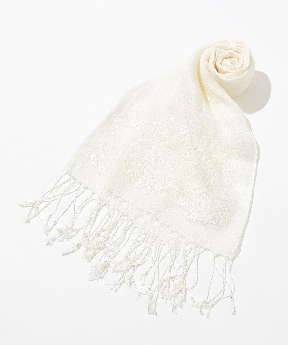 any SiS リネンエンブロイダリー ストール ホワイト系