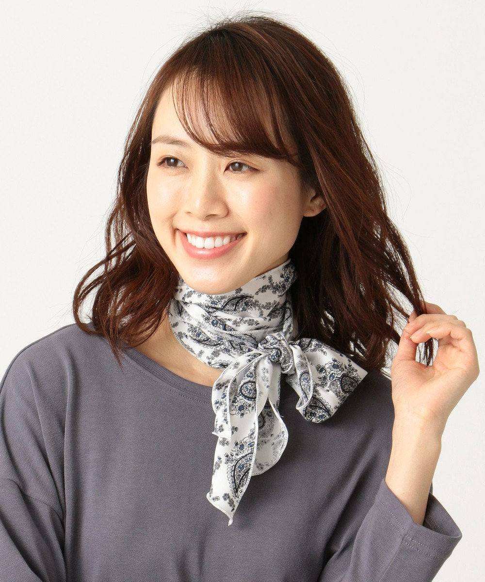 any FAM ペイズリー柄 スカーフ ホワイト系5