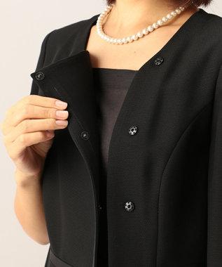 自由区 FORMAL 【前開きワンピース】ドビーボーダーリボン ジャケット+ワンピース ブラック系
