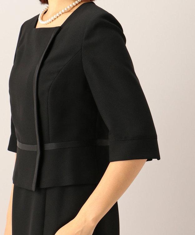 自由区 FORMAL 【前開きワンピース】ドビーボーダーリボン ジャケット+ワンピース