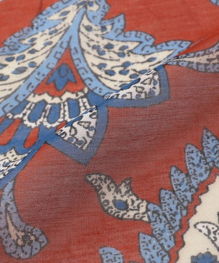 JOSEPH ABBOUD 【Made in Italy】ペイズリープリント スカーフ オレンジ系5
