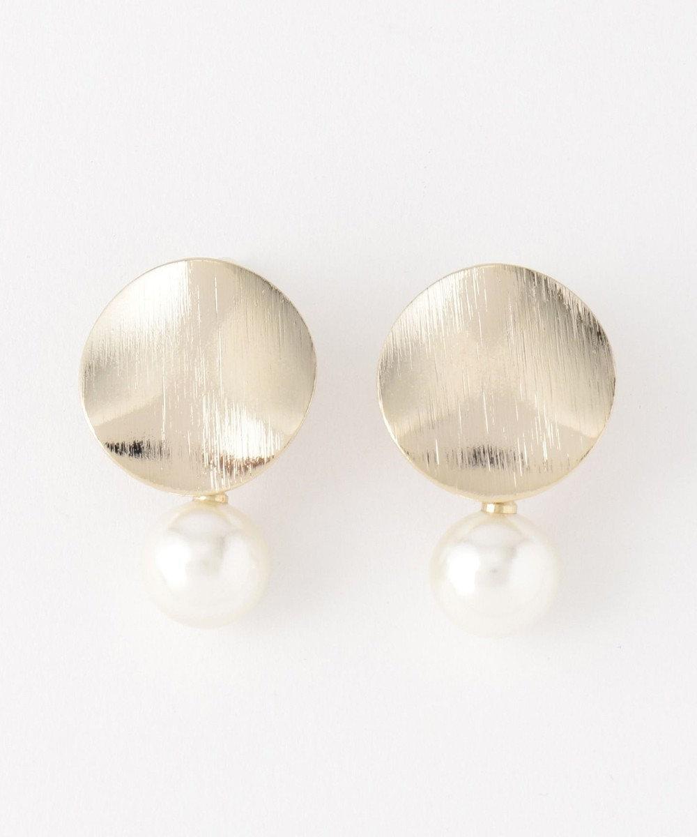 ICB 【Utilism】Curve Plate Pearl Combi イヤリング ゴールド系