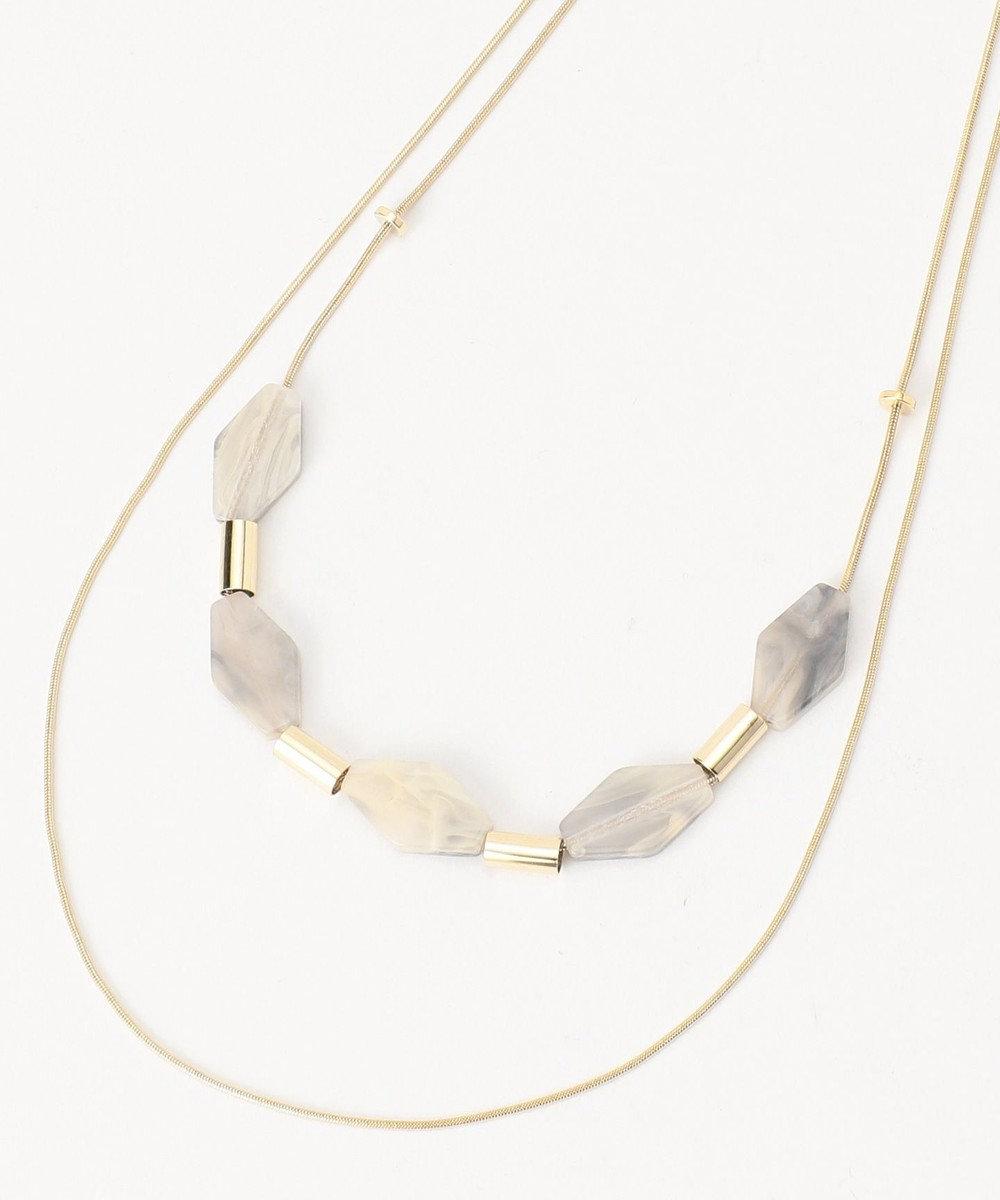 any FAM ダイヤカットパーツ2連 ネックレス ライトグレー系