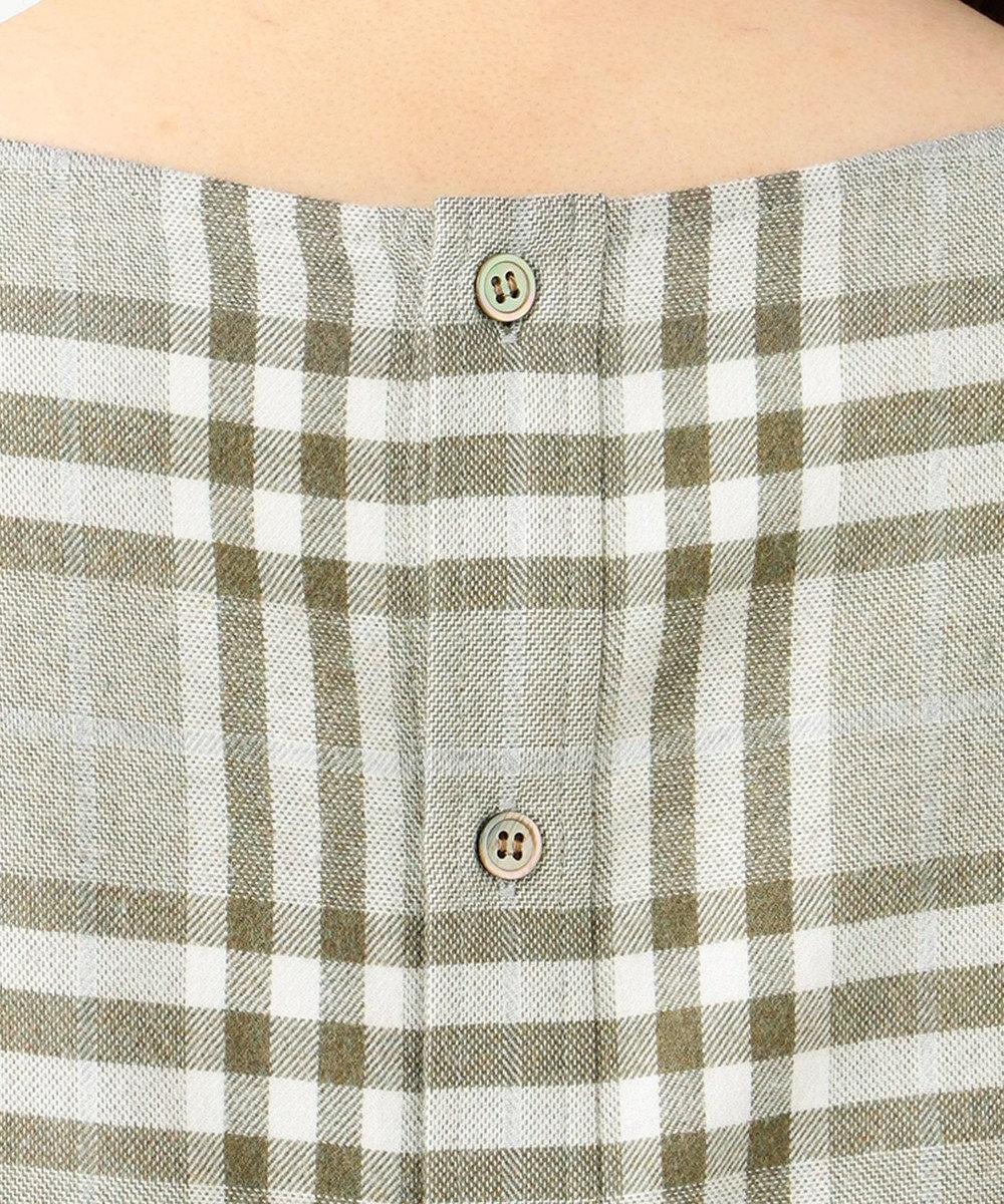 23区 【洗える】CANCLINI バックボタン シャツ ダークブラウン系1