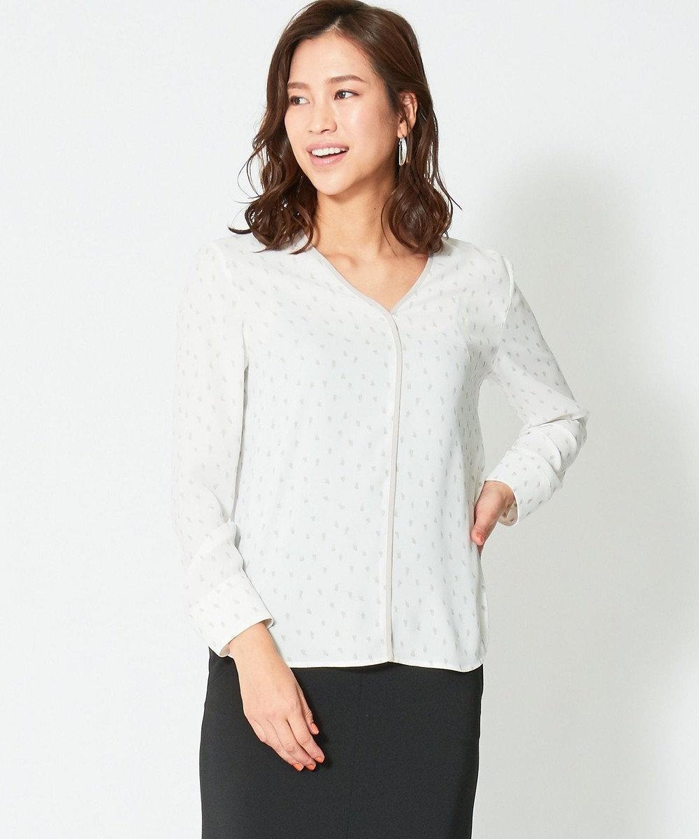 ICB 【VERY4月号掲載】Touch Dot PT 長袖ブラウス ホワイト×グレードット