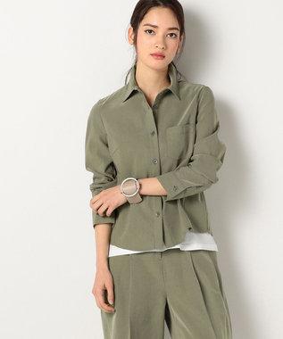 ICB 【洗える】Mixed Linen ブラウス カーキ系