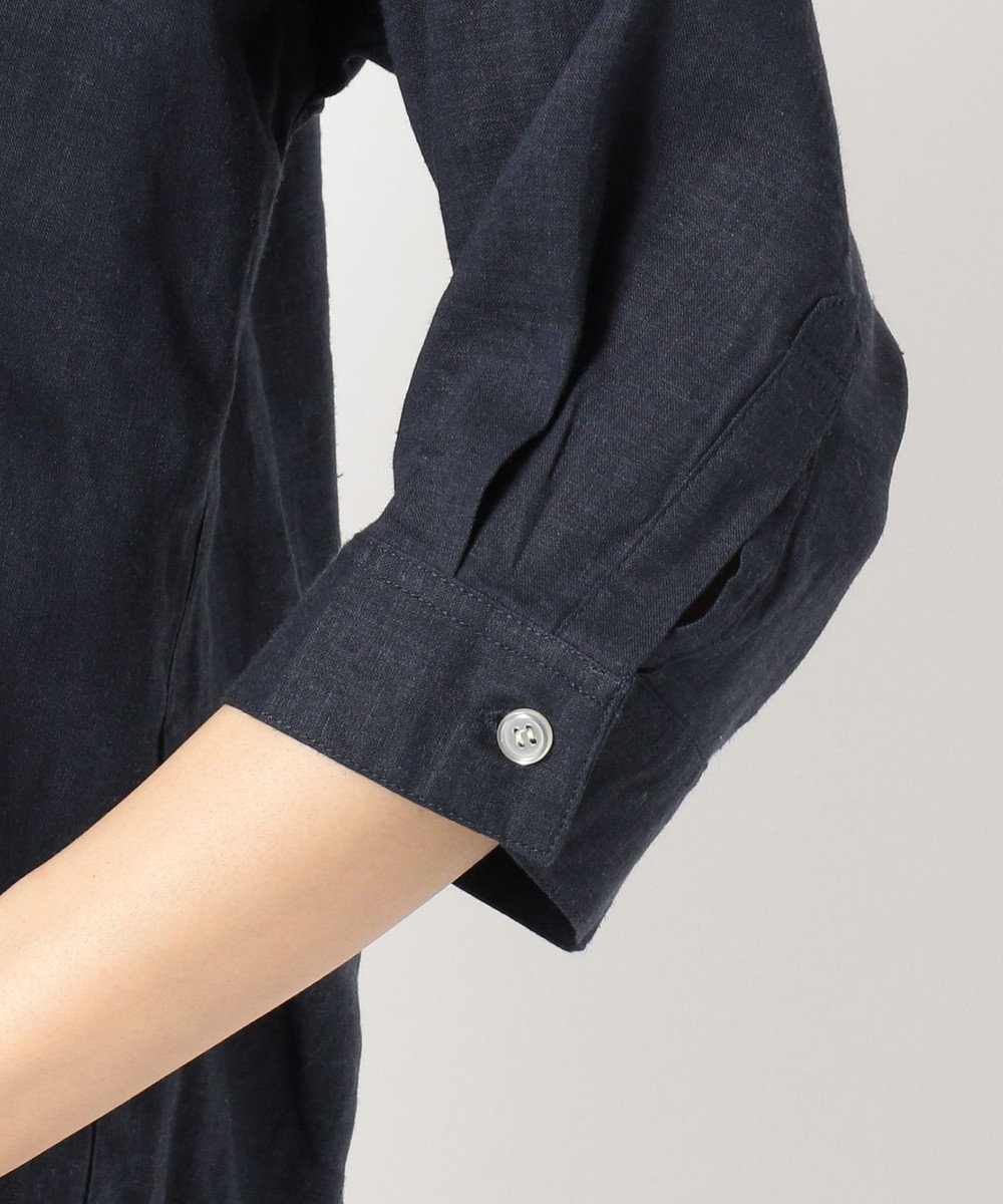 any FAM 【洗える】ライトソフトリネン シャツ ネイビー系