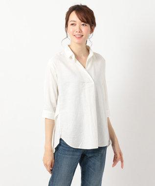 any FAM 【洗える】ライトソフトリネン シャツ ホワイト系