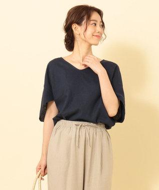 any FAM 【洗える】ライトソフトリネン ブラウス ネイビー系