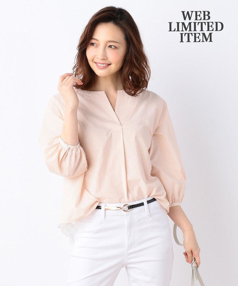 any FAM L 【WEB限定】ストライプバックレース刺繍 ブラウス ピンク系1