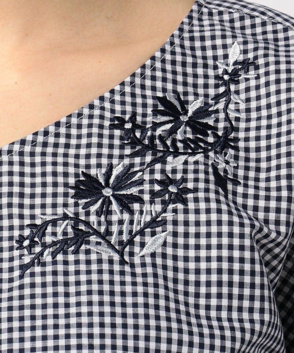 any FAM 【洗える!】ノルマンディリネン刺繍 ブラウス ネイビー系3