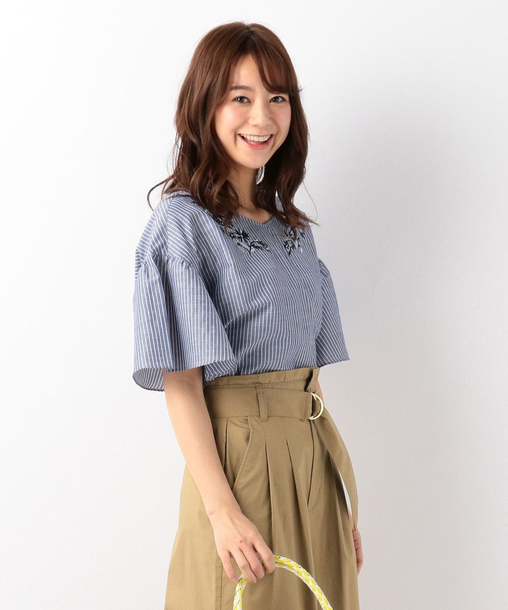 any FAM 【洗える!】ノルマンディリネン刺繍 ブラウス ネイビー系1