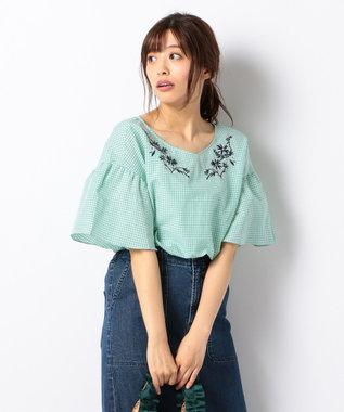 any FAM 【洗える!】ノルマンディリネン刺繍 ブラウス グリーン系3