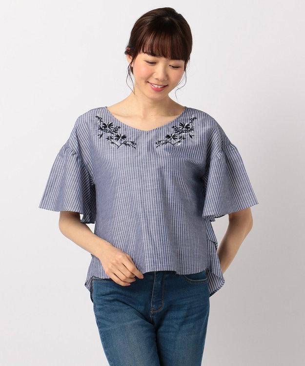 any FAM 【洗える!】ノルマンディリネン刺繍 ブラウス
