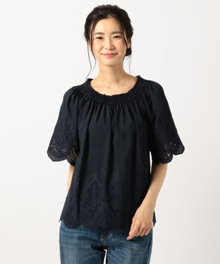 any FAM 【WEB限定】スカラップ刺繍 ブラウス ネイビー系