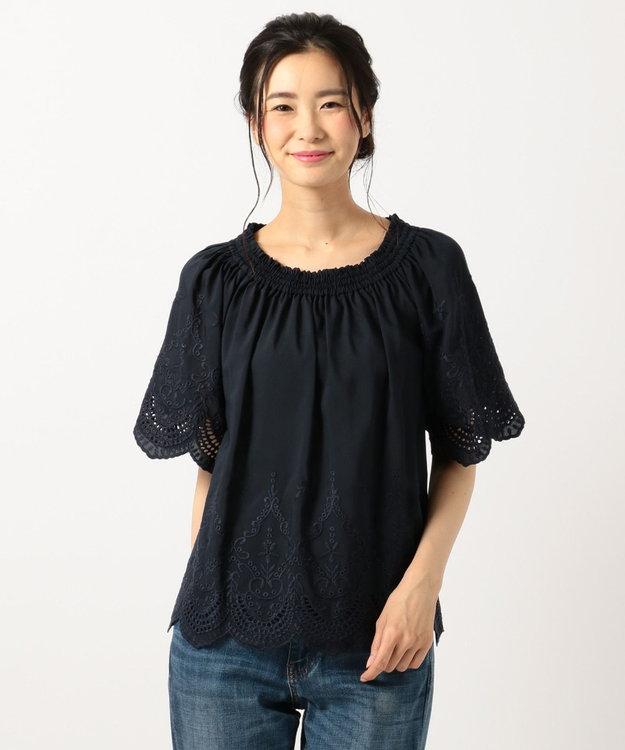 any FAM 【WEB限定】スカラップ刺繍 ブラウス