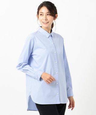 J.PRESS LADIES S 【伸縮性素材】SOMELOS JOYCE レギュラーカラー ブラウス サックスブルー系