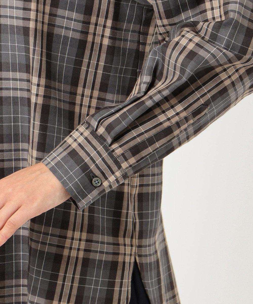 J.PRESS LADIES 【洗える】C/セルロースクリアチェック スキッパーシャツ ライトグレー系4