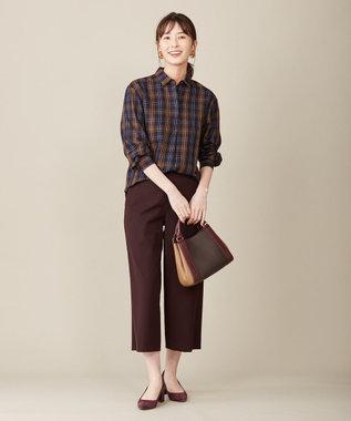 J.PRESS LADIES 【洗える】C/セルロースクリアチェック スキッパーシャツ ネイビー系4