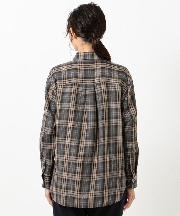 J.PRESS LADIES 【洗える】C/セルロースクリアチェック スキッパーシャツ