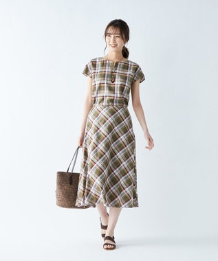 J.PRESS LADIES S 【洗える】BEZ TEKSTIL社マドラスチェック ブラウス カーキ系5