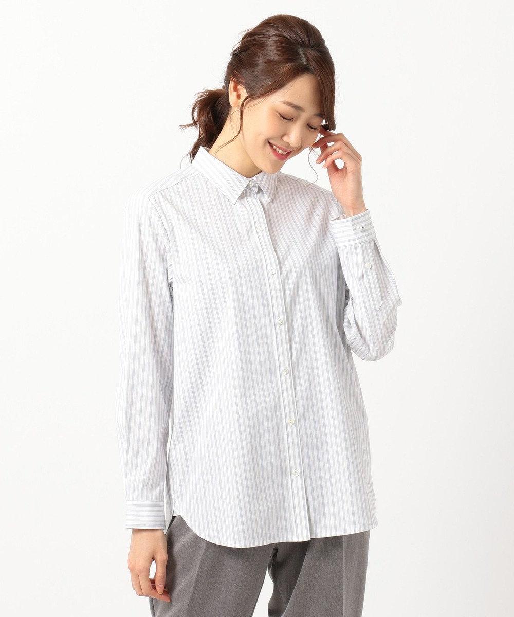 J.PRESS LADIES 【洗える】SOMELOS JOYCEストライプ シャツ ホワイト系1
