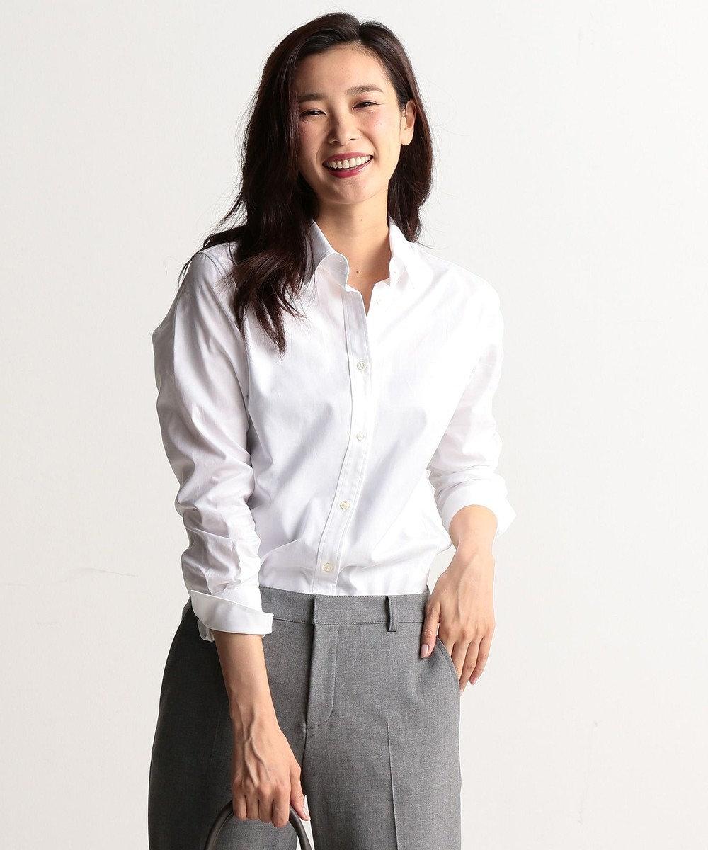 J.PRESS LADIES L 【洗える!】スビンゴールド レギュラーカラーシャツ ホワイト系