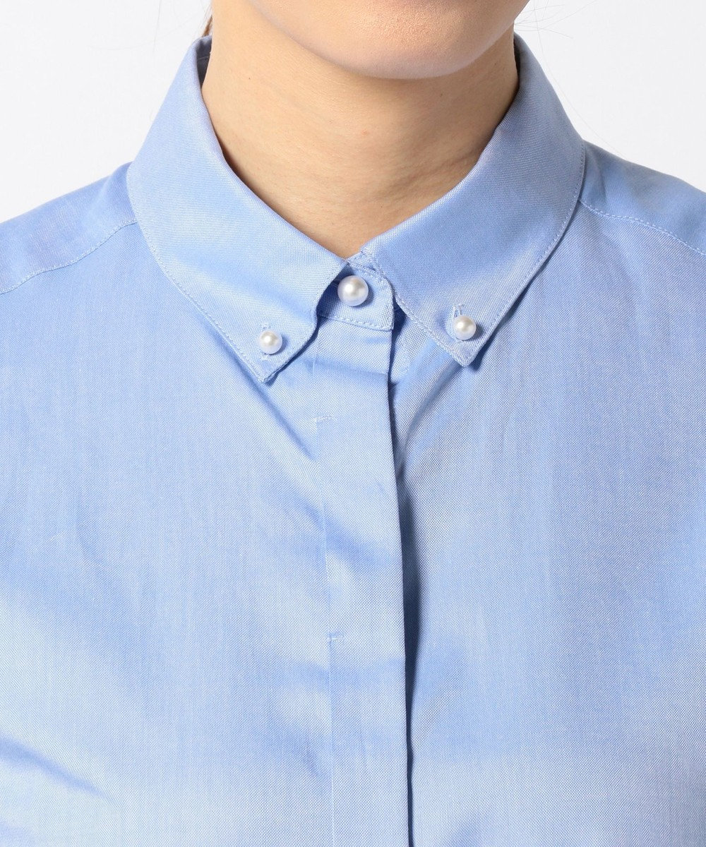 J.PRESS LADIES 【洗える!】スビンゴールド ボタンダウンシャツ サックスブルー系