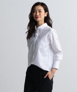 J.PRESS LADIES 【洗える!】スビンゴールド ボタンダウンシャツ ホワイト系