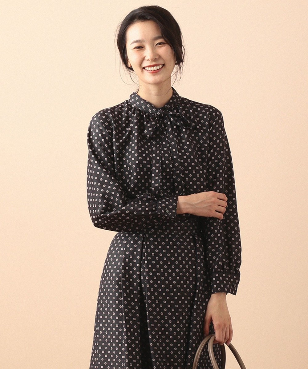 J.PRESS LADIES S 【洗える】小紋スカーフプリント ボウタイ ブラウス グレー系5