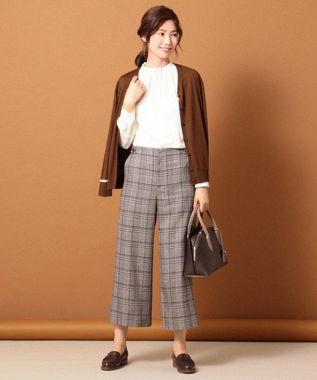 J.PRESS LADIES 【洗える】ピーチサテン ギャザー ブラウス