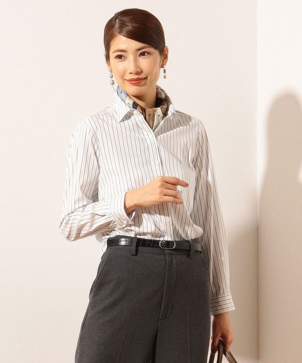 J.PRESS LADIES S SOMELOS JOYCE ストライプ シャツ ネイビー系1