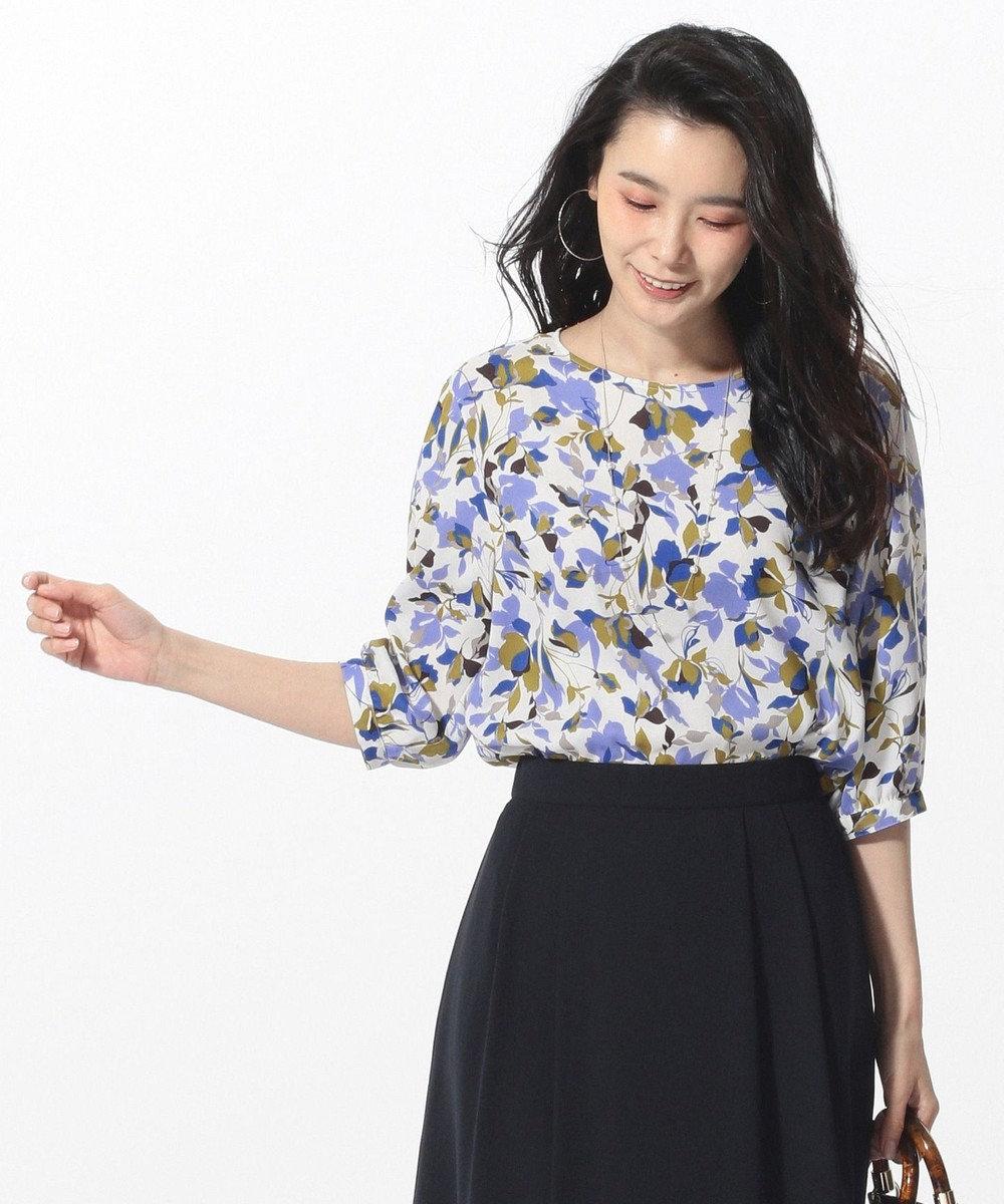 J.PRESS LADIES 【洗える】COLLAGE FLOWERプリント ブラウス ホワイト系5