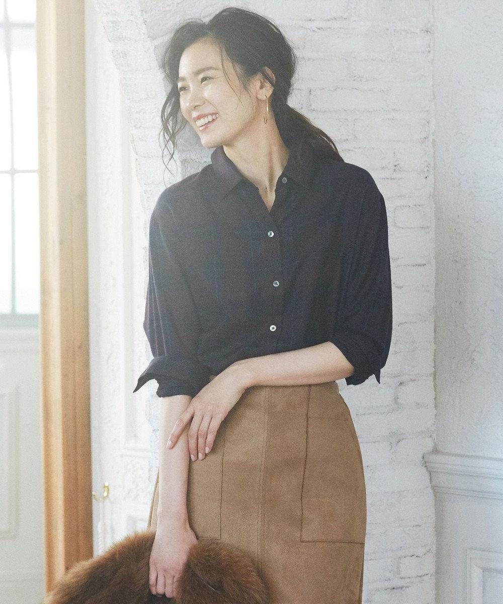 J.PRESS LADIES 【洗える】綿リヨセルブラッシュチェック シャツ レッド系3