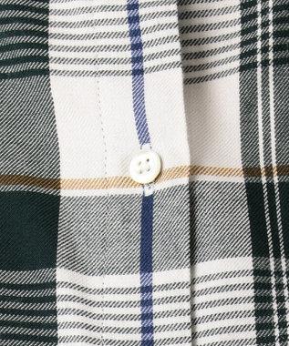 J.PRESS LADIES 【洗える】綿リヨセルブラッシュチェック シャツ グリーン系3