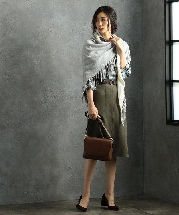 J.PRESS LADIES 【洗える】綿リヨセルブラッシュチェック シャツ