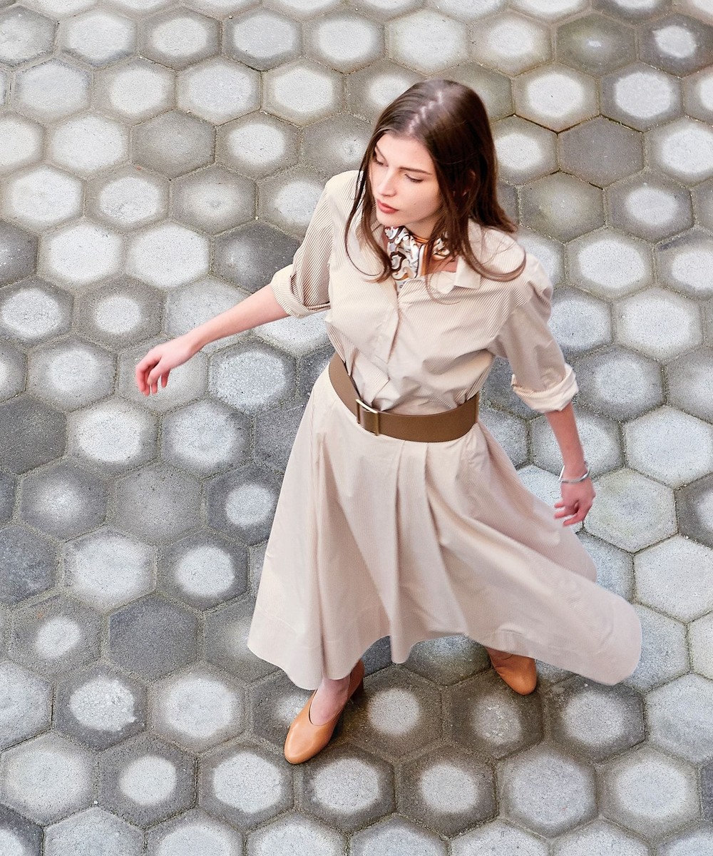 J.PRESS LADIES 【サッシュベルト付】ANGEL チュニック丈シャツ ベージュ系1