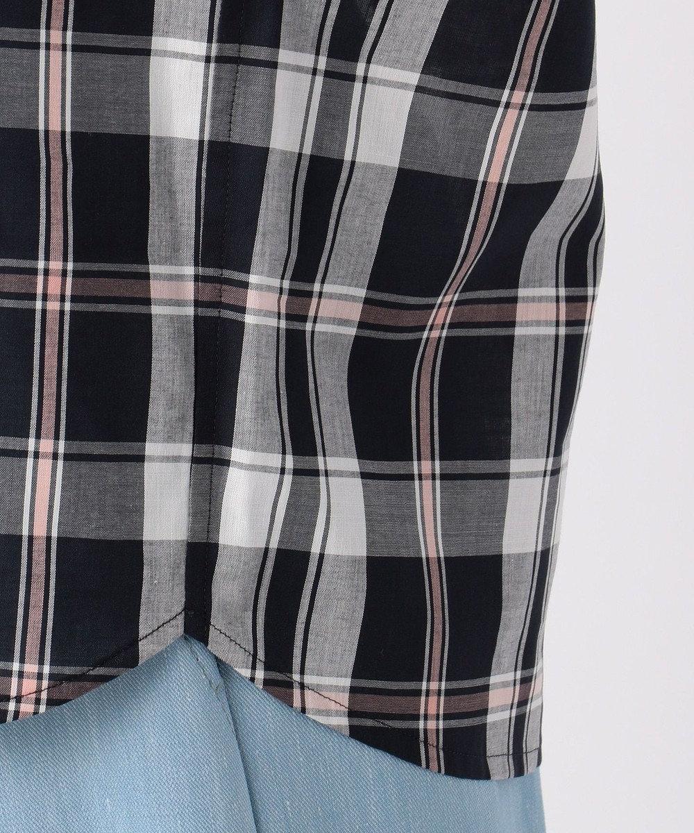 J.PRESS LADIES L 【洗える】コットンテンセルチェック スキッパーシャツ ネイビー系3