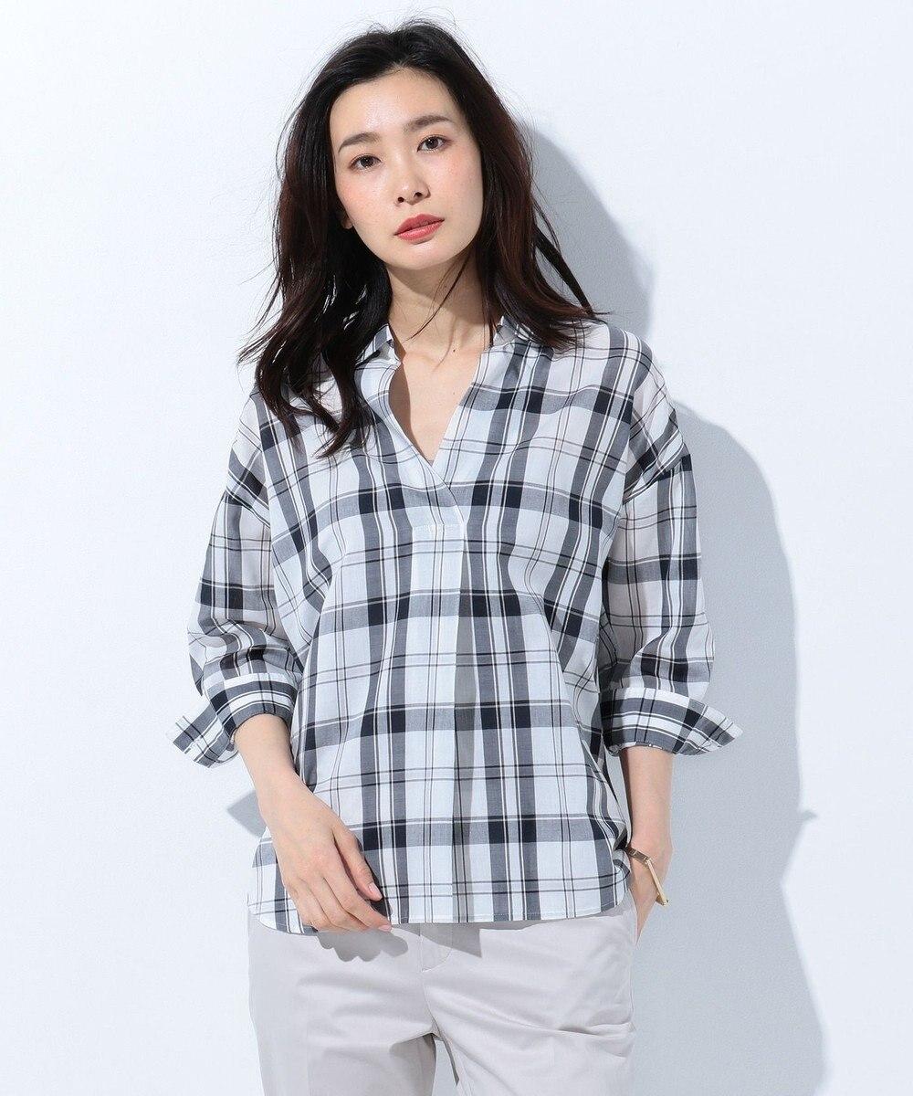 J.PRESS LADIES L 【洗える】コットンテンセルチェック スキッパーシャツ ブラック系3