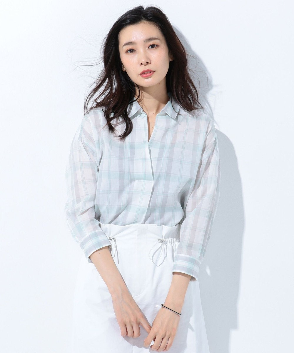 J.PRESS LADIES L 【洗える】コットンテンセルチェック スキッパーシャツ グレー系3