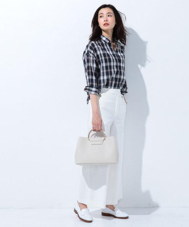 J.PRESS LADIES L 【洗える】コットンテンセルチェック スキッパーシャツ