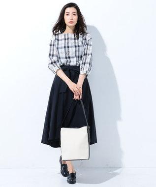 J.PRESS LADIES S 【洗える】コットンテンセルチェック ブラウス ブラック系3