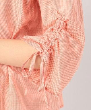 J.PRESS LADIES 【洗える】コットンテンセルギンガム ブラウス オレンジ系3