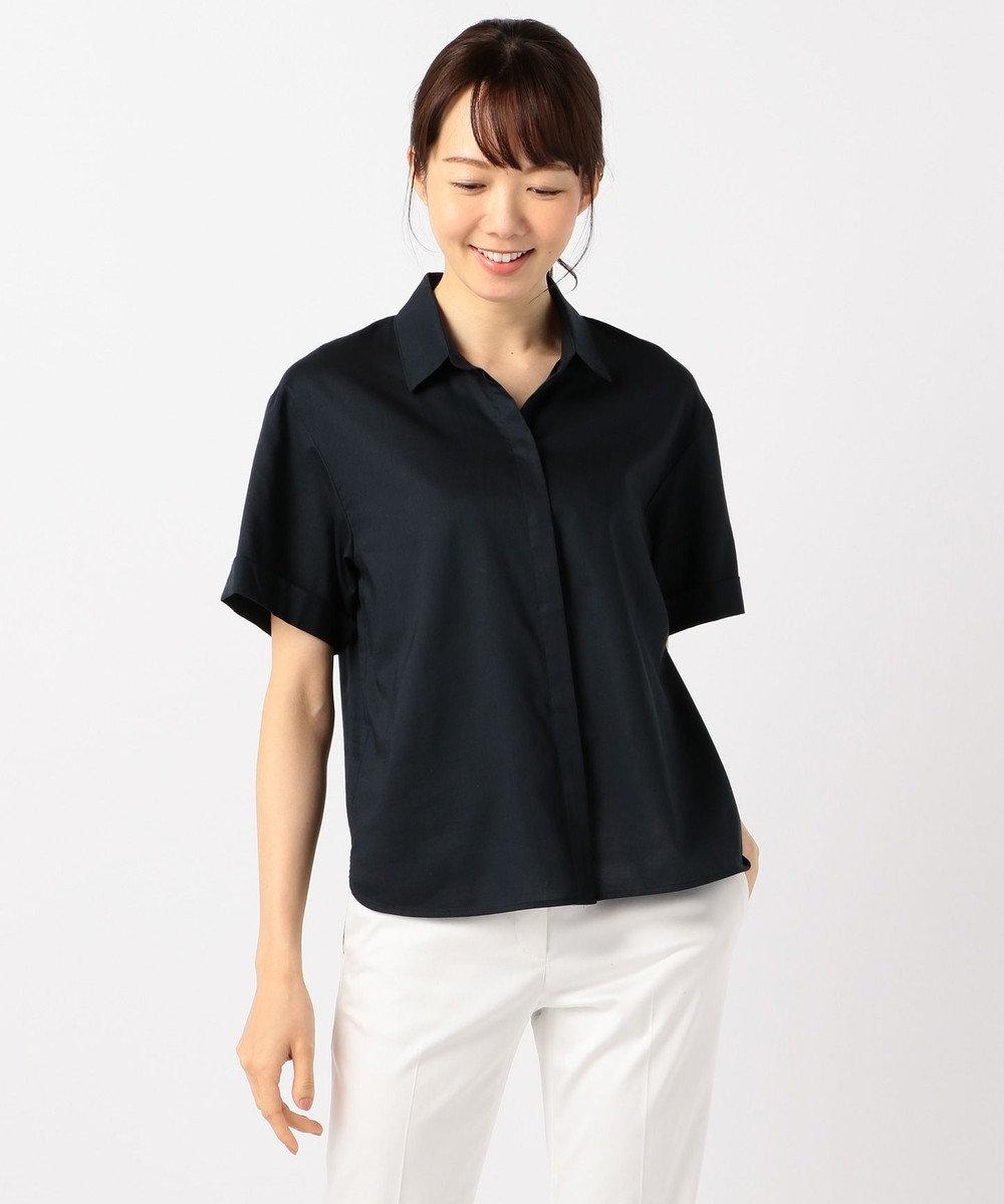 J.PRESS LADIES L 【洗える】60コットンテンセルローン シャツ ネイビー系
