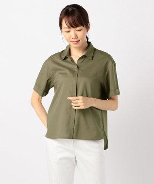 J.PRESS LADIES L 【洗える】60コットンテンセルローン シャツ カーキ系